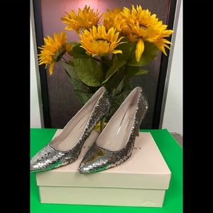 CHINESE LAUNDRY SEQUINS SILVER GOLD STRIPPER HEELS